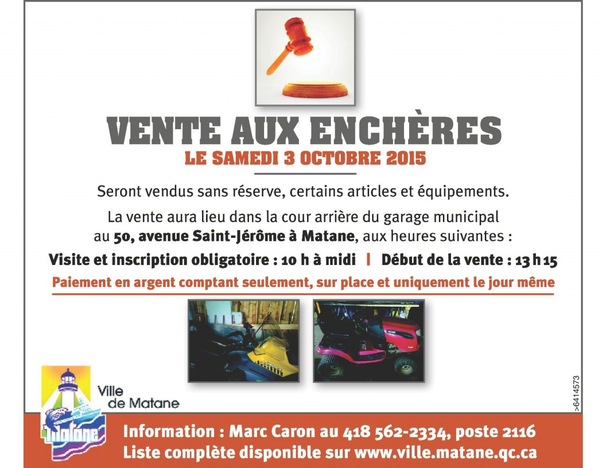 vente aux ench res de la ville de matane 3 octobre 2015 ville de matane. Black Bedroom Furniture Sets. Home Design Ideas